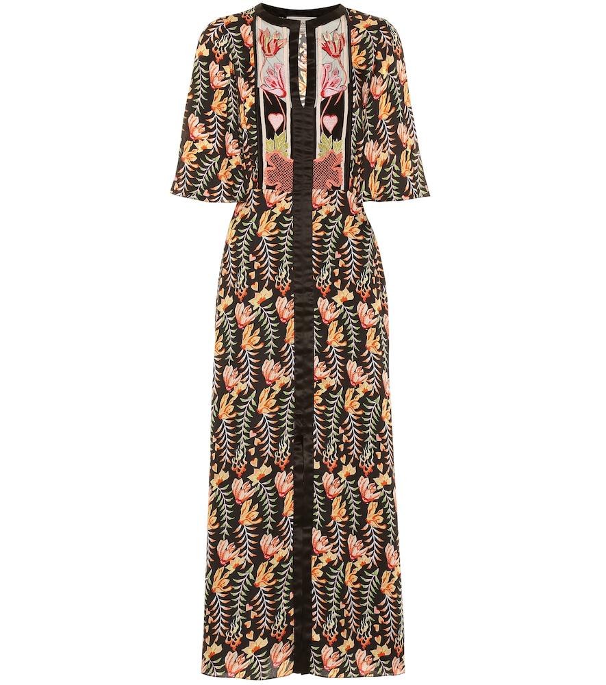 Robe longue Rosy imprimée en satin