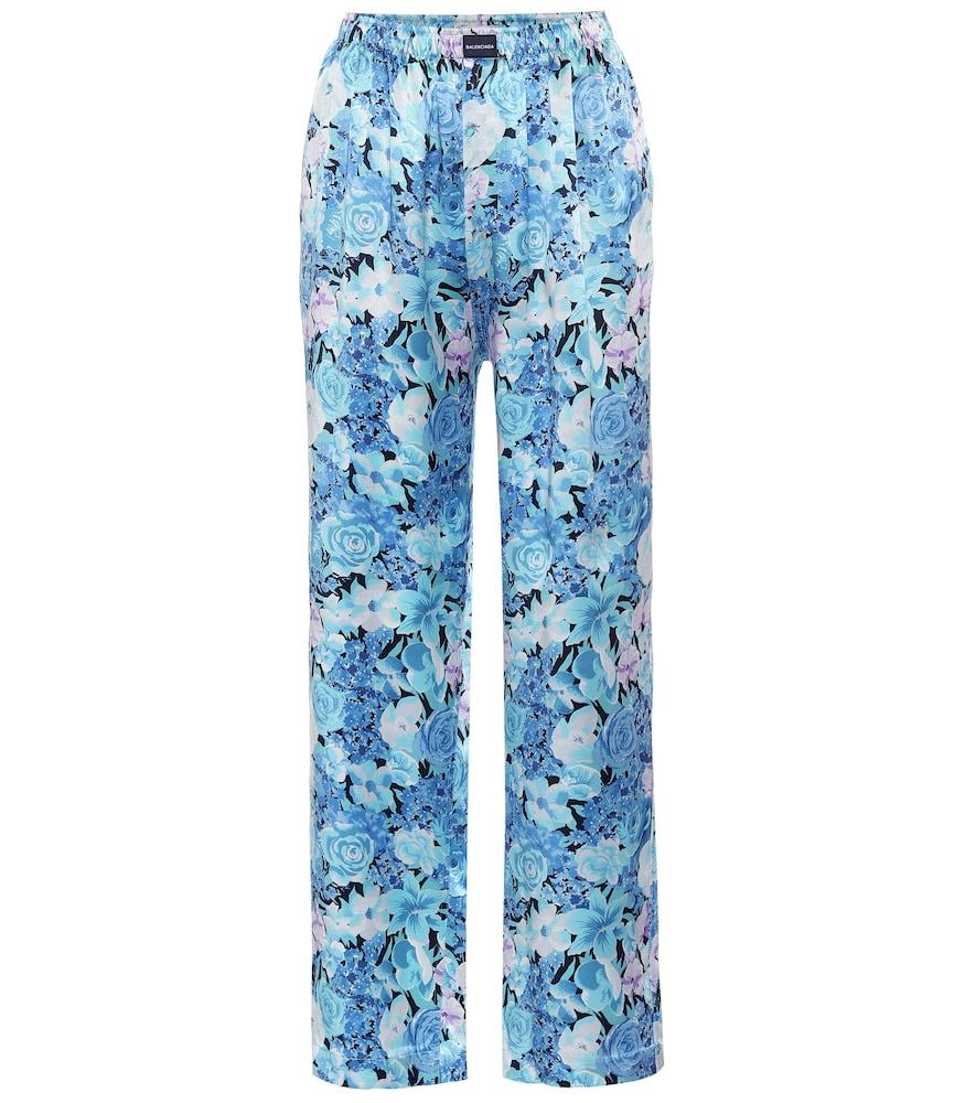 Pantalon imprimée en satin de soie - Balenciaga - Modalova