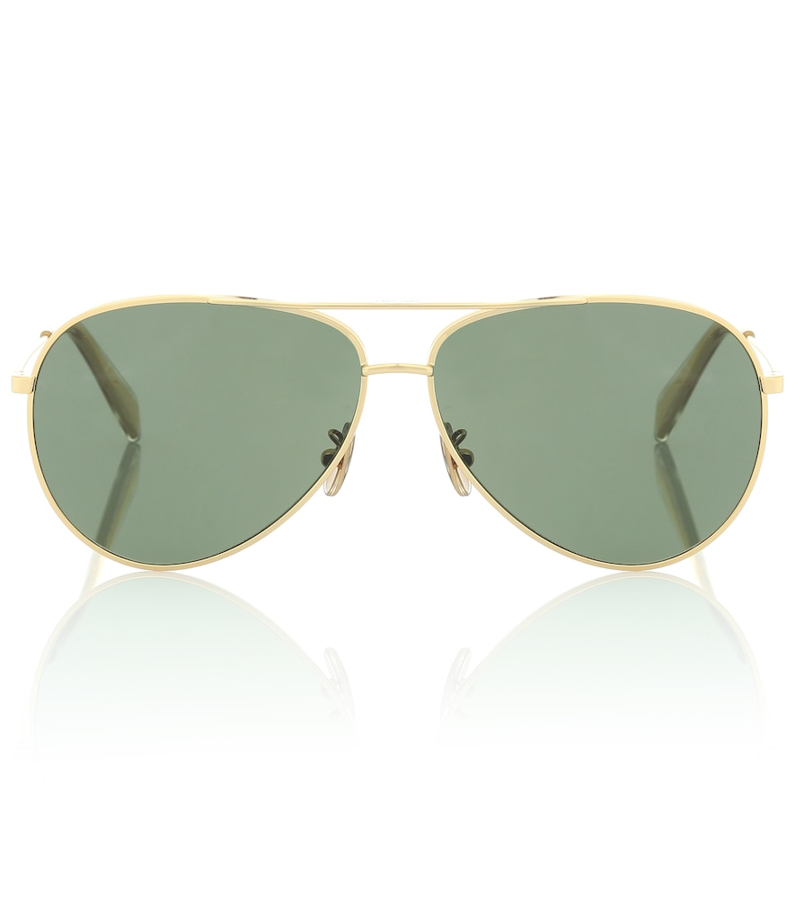 Aviator sunglasses with leather pouch