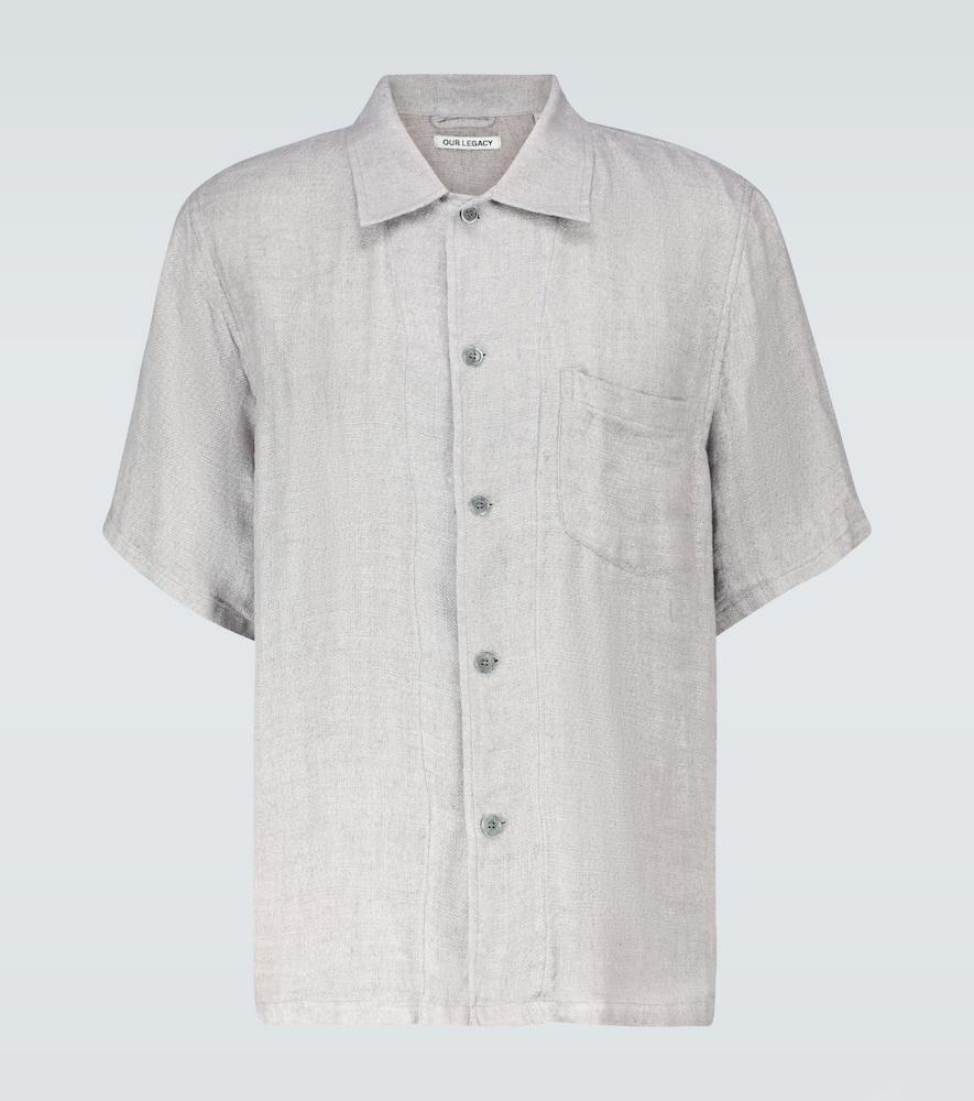 Chemise Box en lin à manches courtes
