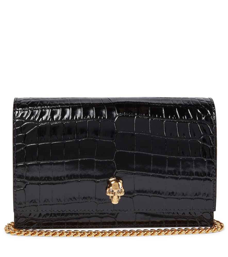 Alexander Mcqueen Skull Small Leather Crossbody Bag In Black