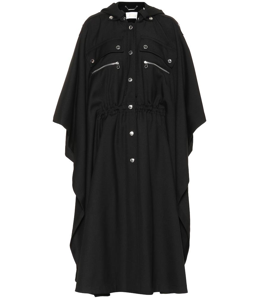 Embellished Wool-Gabardine Cape, Black