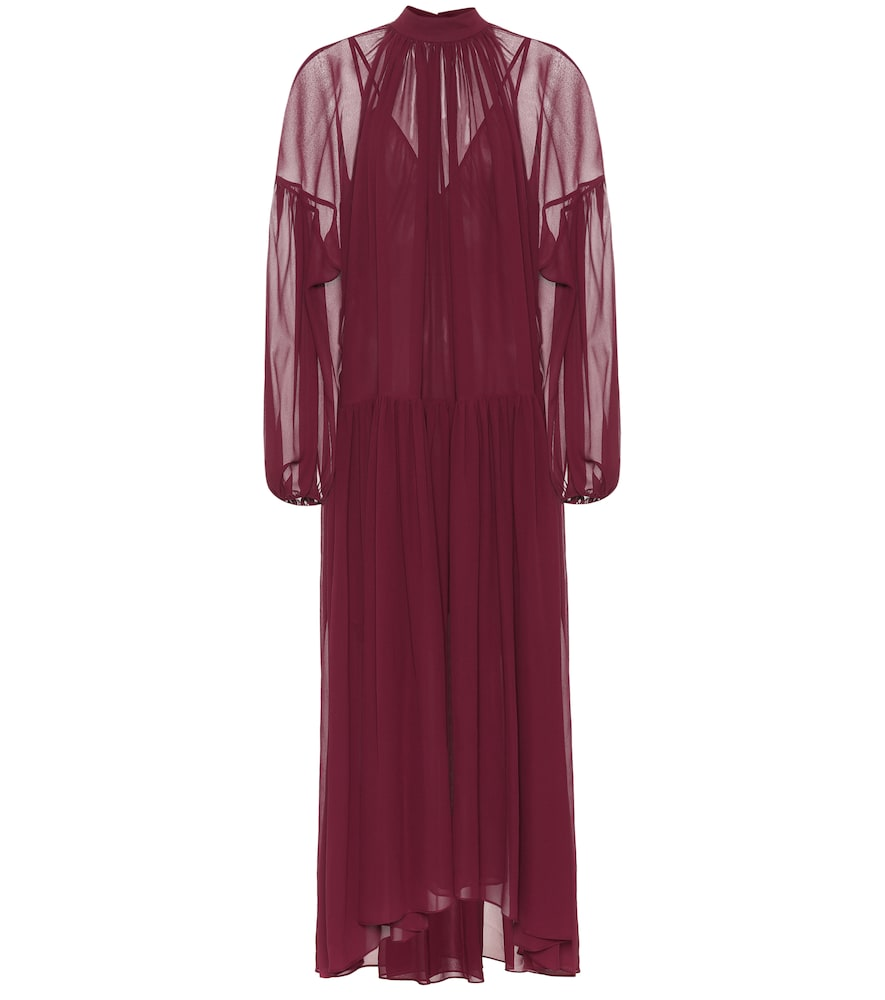 Tiffany Silk Georgette Pleated Dress, Red