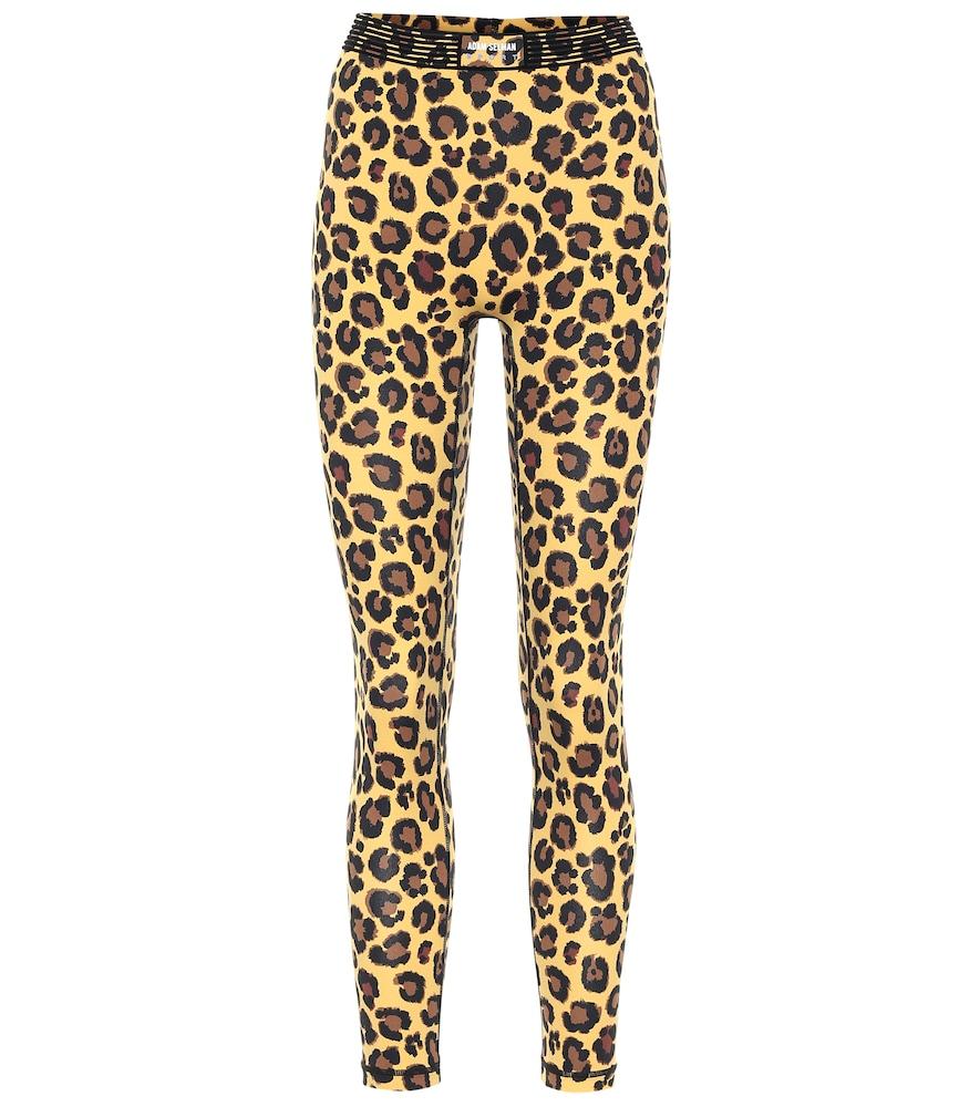 Bonded leopard-print leggings