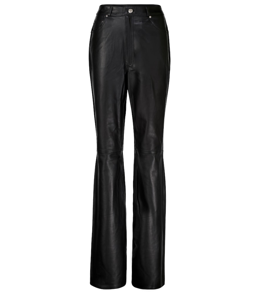 Mila high-rise leather straight pants