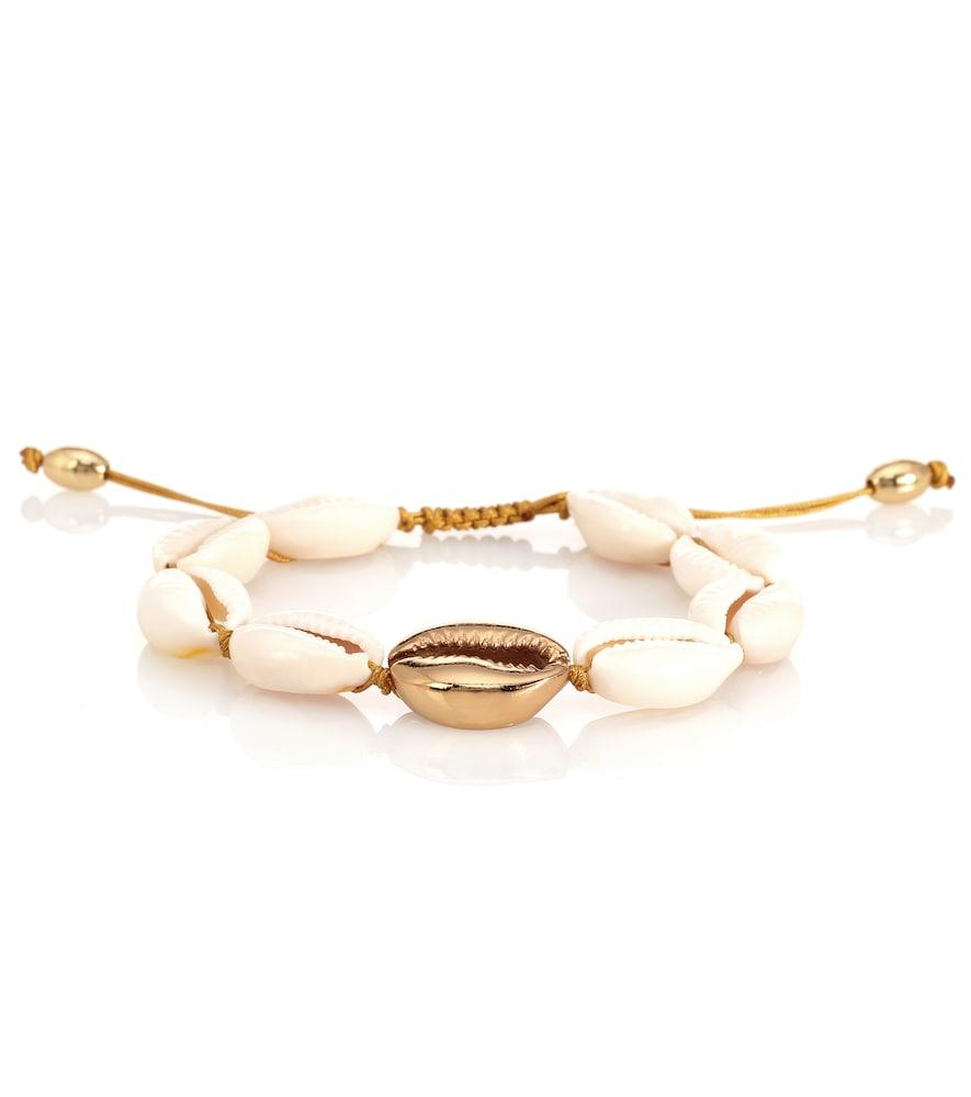 TOHUM DESIGN Concha Puka 22Kt Gold-Plated Bracelet in White