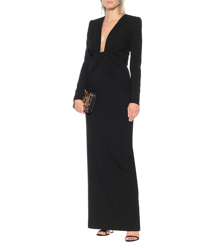 Long-sleeved cr?e gown by Saint Laurent