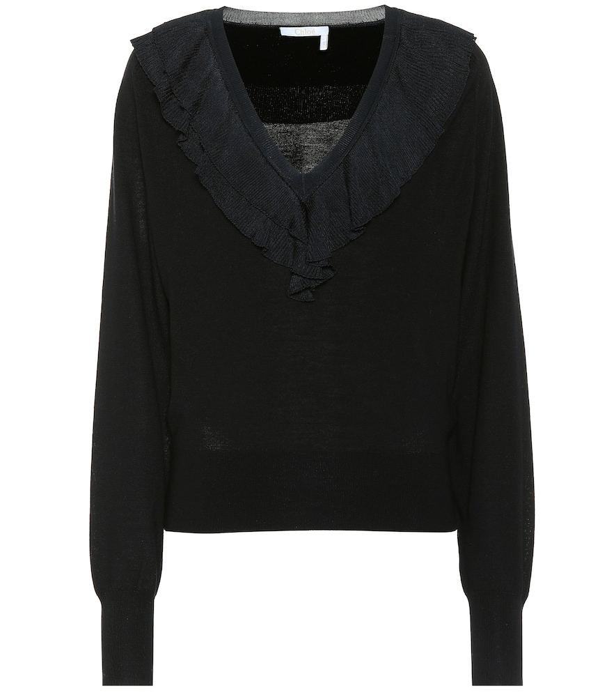 Chloé Sweaters RUFFLED WOOL SWEATER