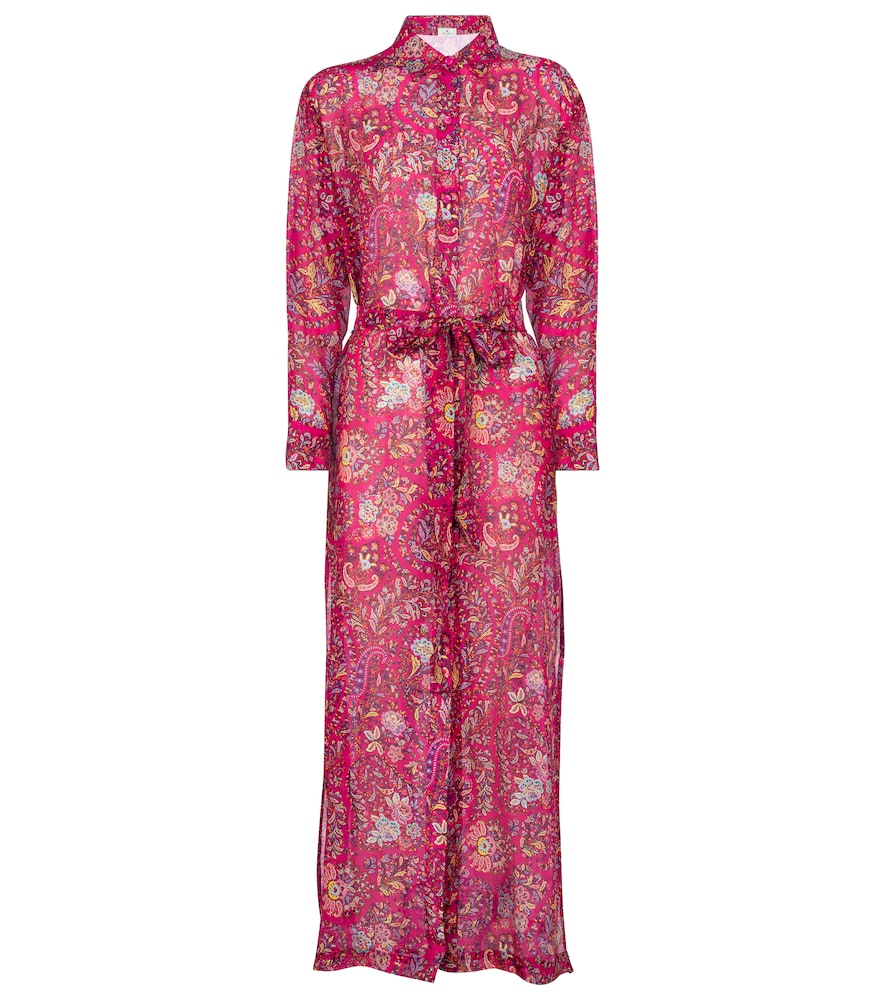 Floral cotton and silk shirt dress