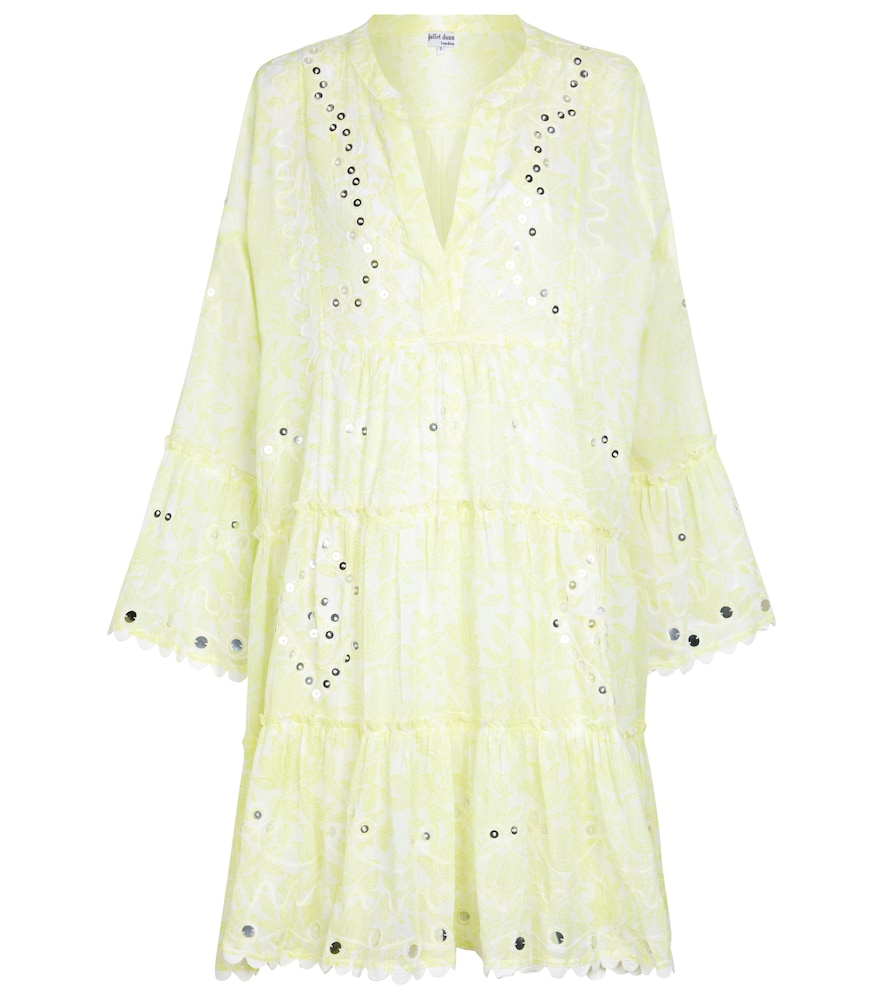 Sequined cotton minidress