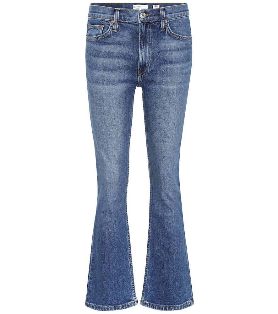 Comfort Stretch Kick Flare Crop Jeans, Blue