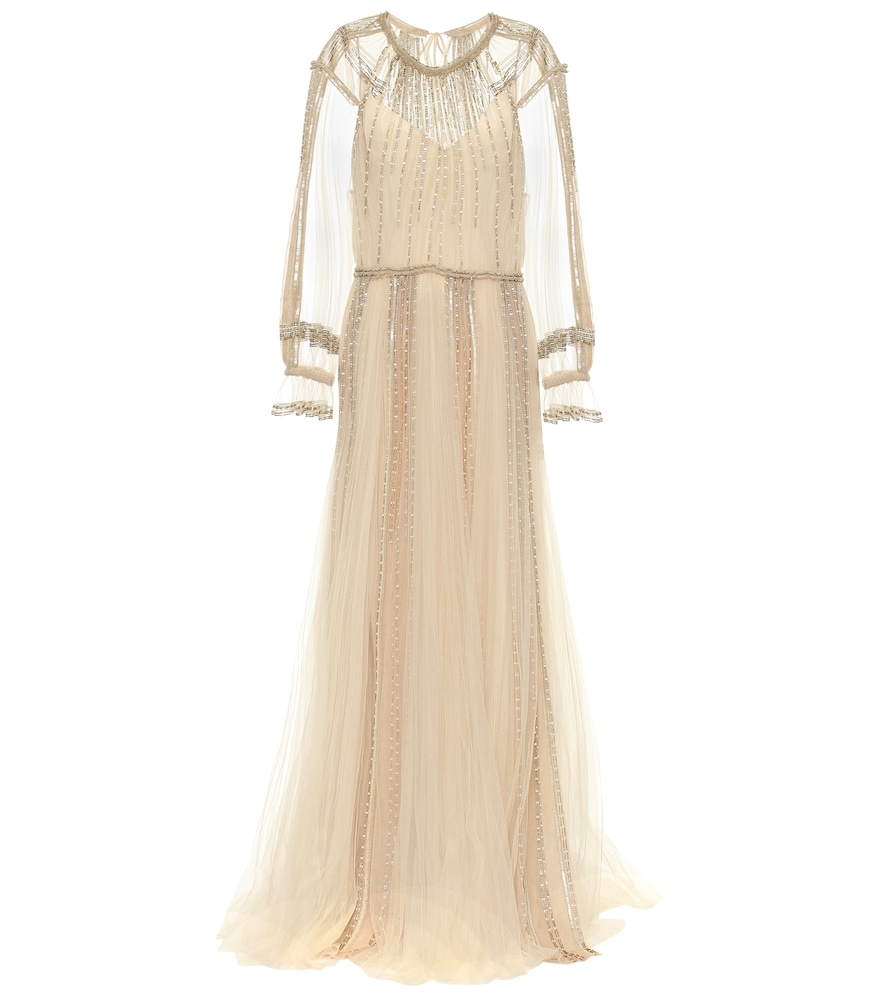 Valentino Embellished Tulle Gown In Beige