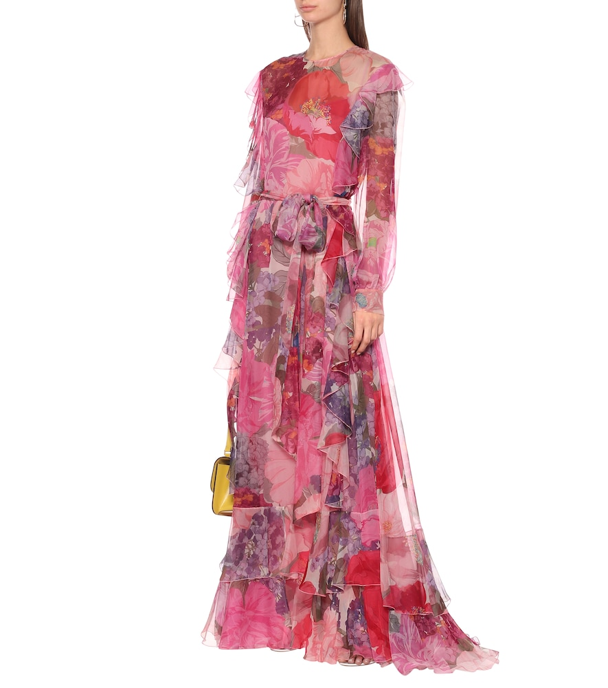 Floral silk-chiffon gown by Valentino