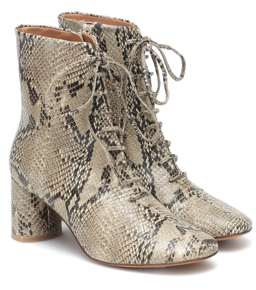 Agata snake-print leather ankle boots