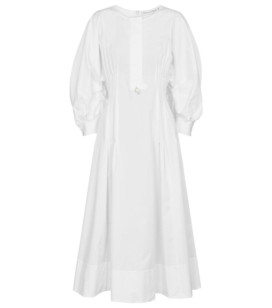 Embellished stretch-cotton midi dress by Oscar de la Renta