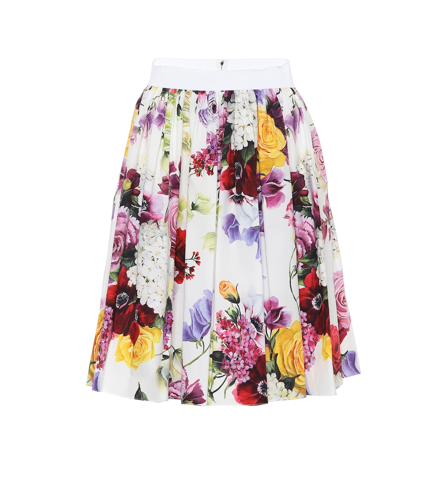 Floral Pleated Cotton Poplin Skirt in Multicoloured