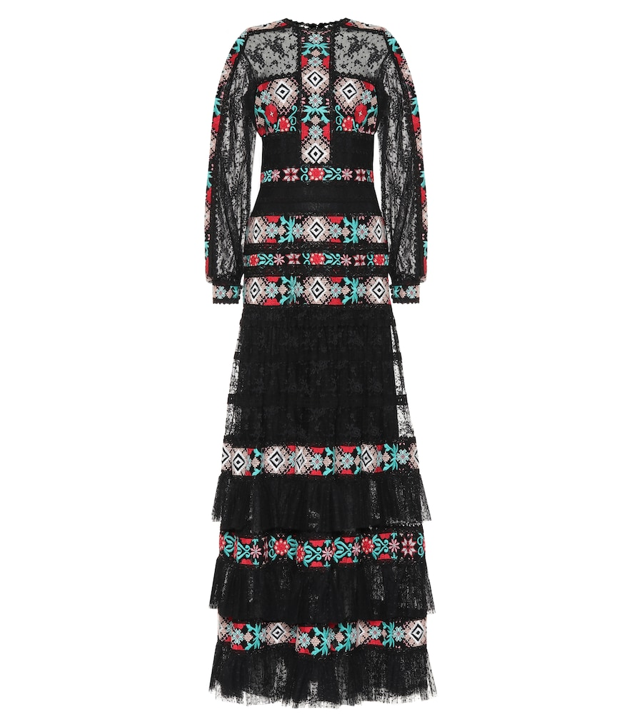 Costarellos Embroidered Lace Gown In Black