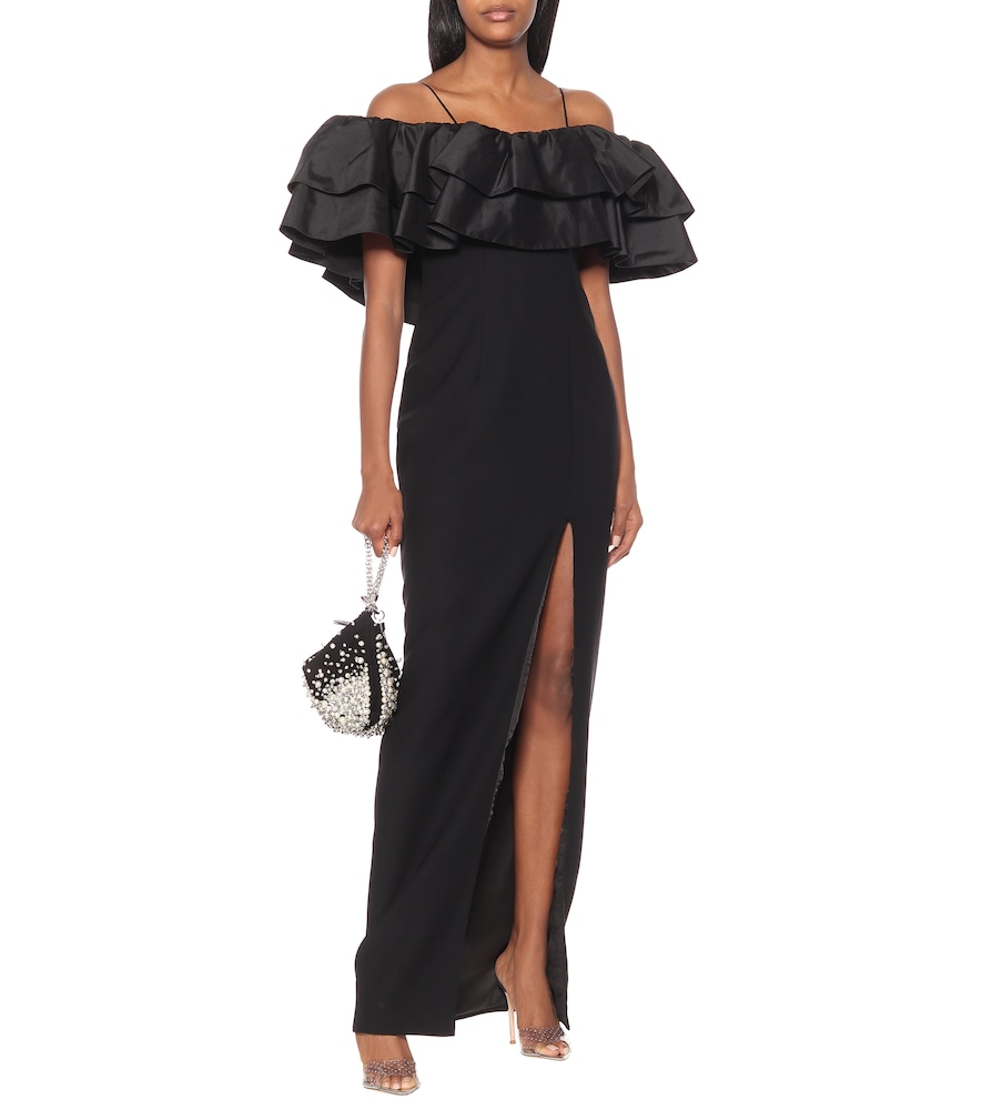 Off-the-shoulder silk-blend gown by RASARIO