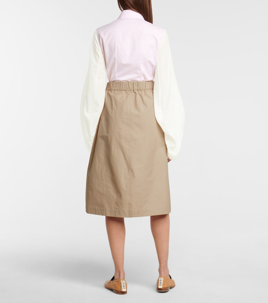 LOEWE Cottons HIGH-RISE COTTON POPLIN MIDI SKIRT