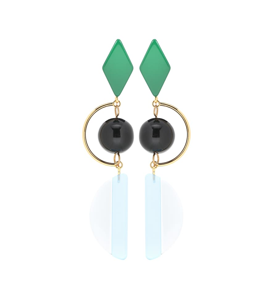 Gold-Tone And Resin Earrings in Light Blue