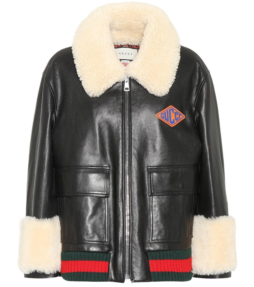 Logo Patch Shearling Trim Leather Bomber Jacket, Black