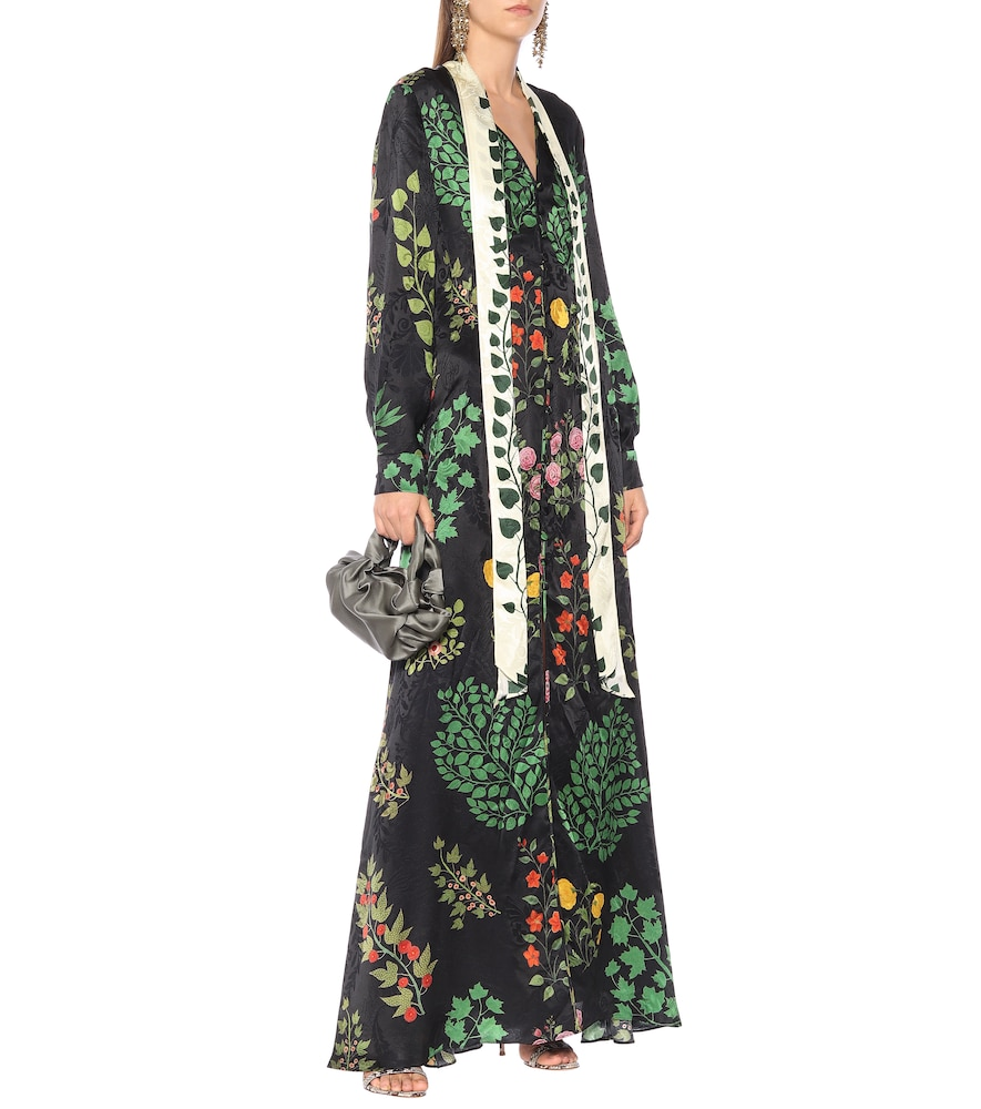 Printed silk-jacquard dress by Oscar de la Renta