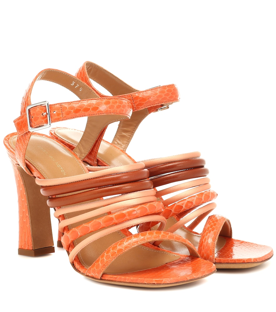Snakeskin and leather sandals