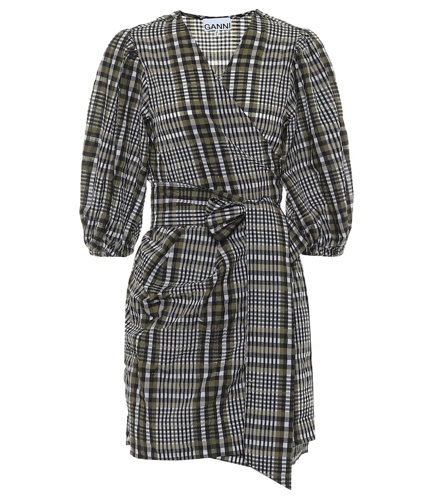 Checked seersucker wrap dress