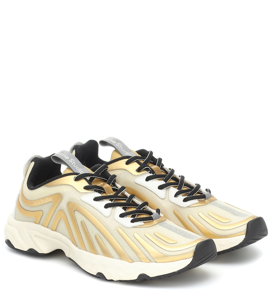 Acne Studios Trail Trainers In Off White And Gold