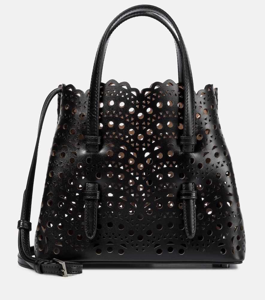 Alaïa Mina Mini Cutout Top Handle Bag In Black