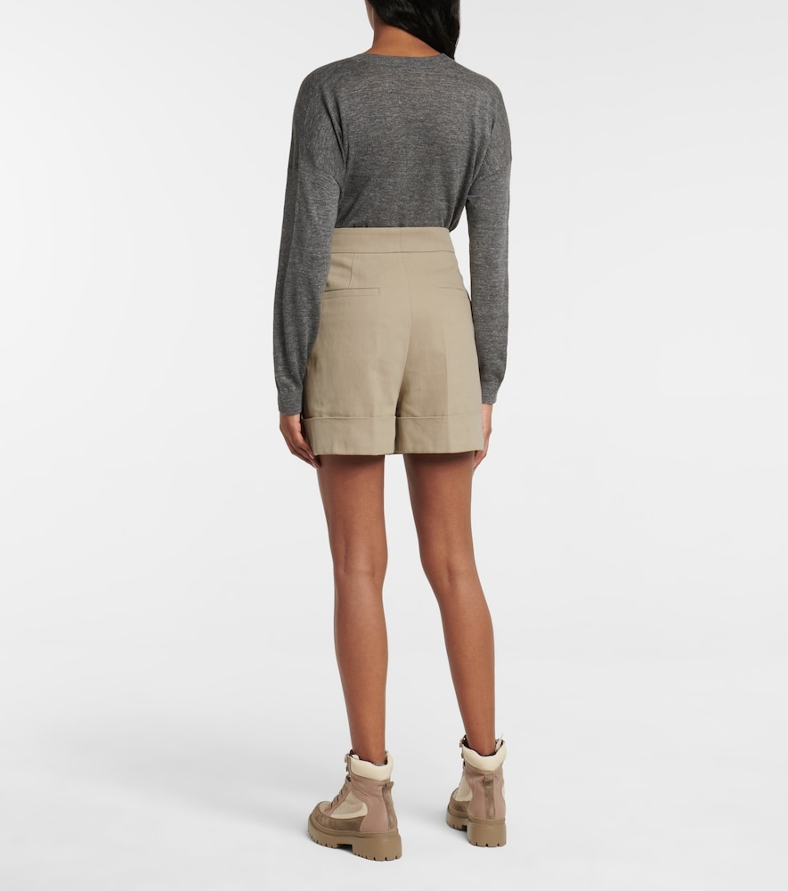 BRUNELLO CUCINELLI Linens EMBELLISHED COTTON AND LINEN SHORTS