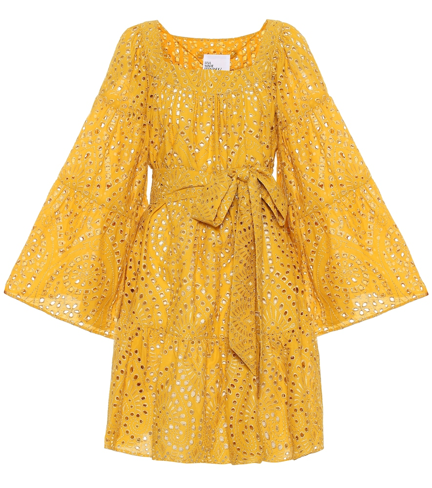 Robe courte en coton brodé