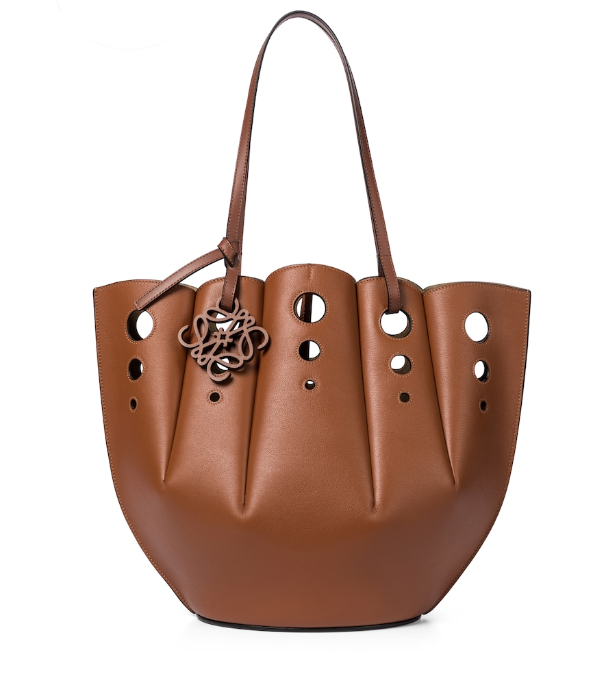 Shell leather tote