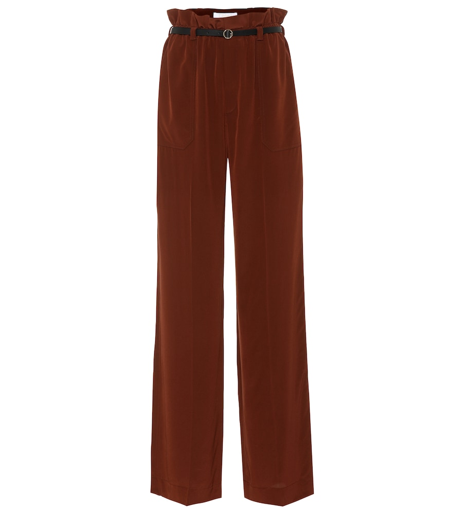 BELTED SILK PANTS