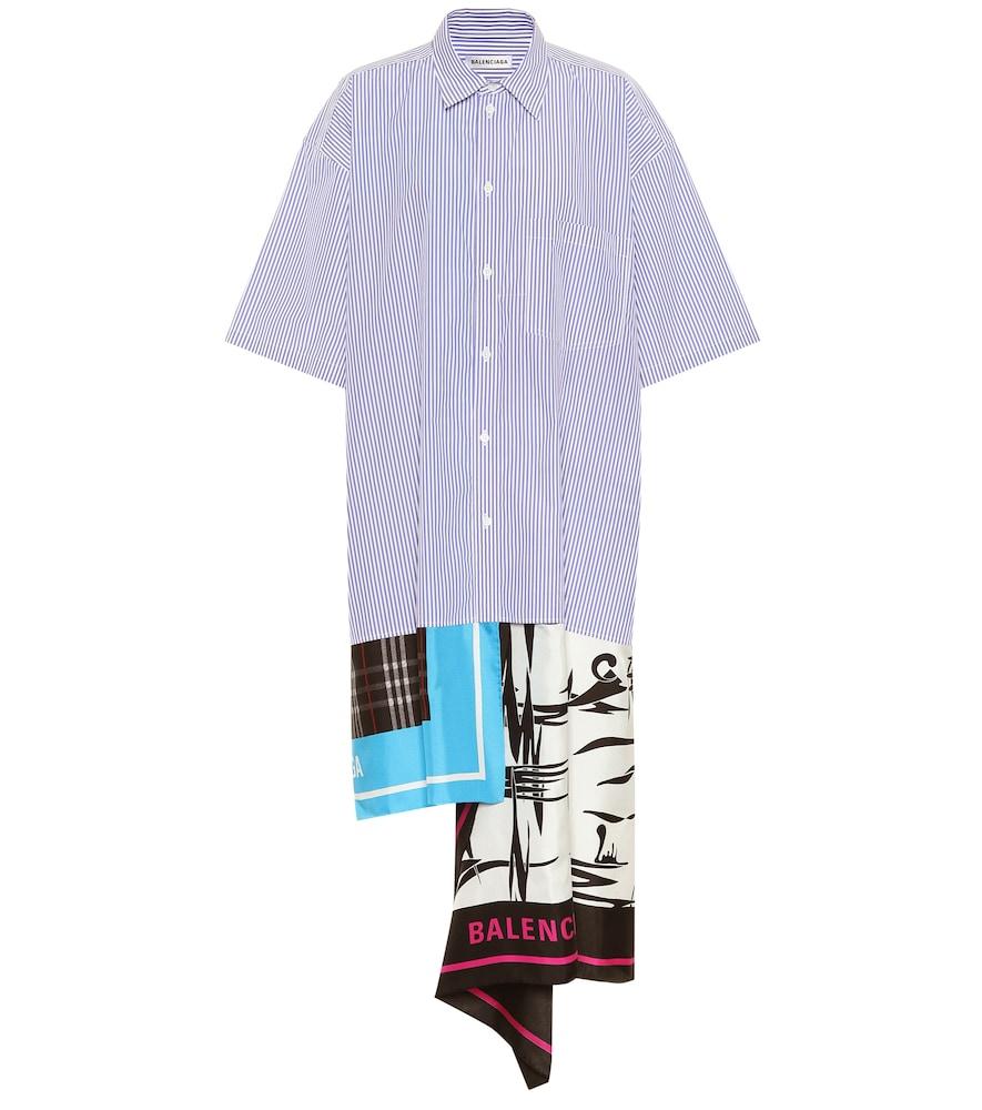 Scarf cotton and silk shirt dress