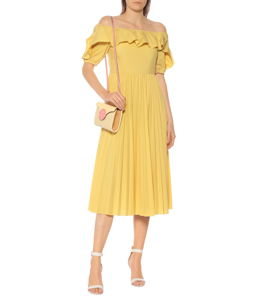 Off-shoulder cotton-blend midi dress by REDValentino