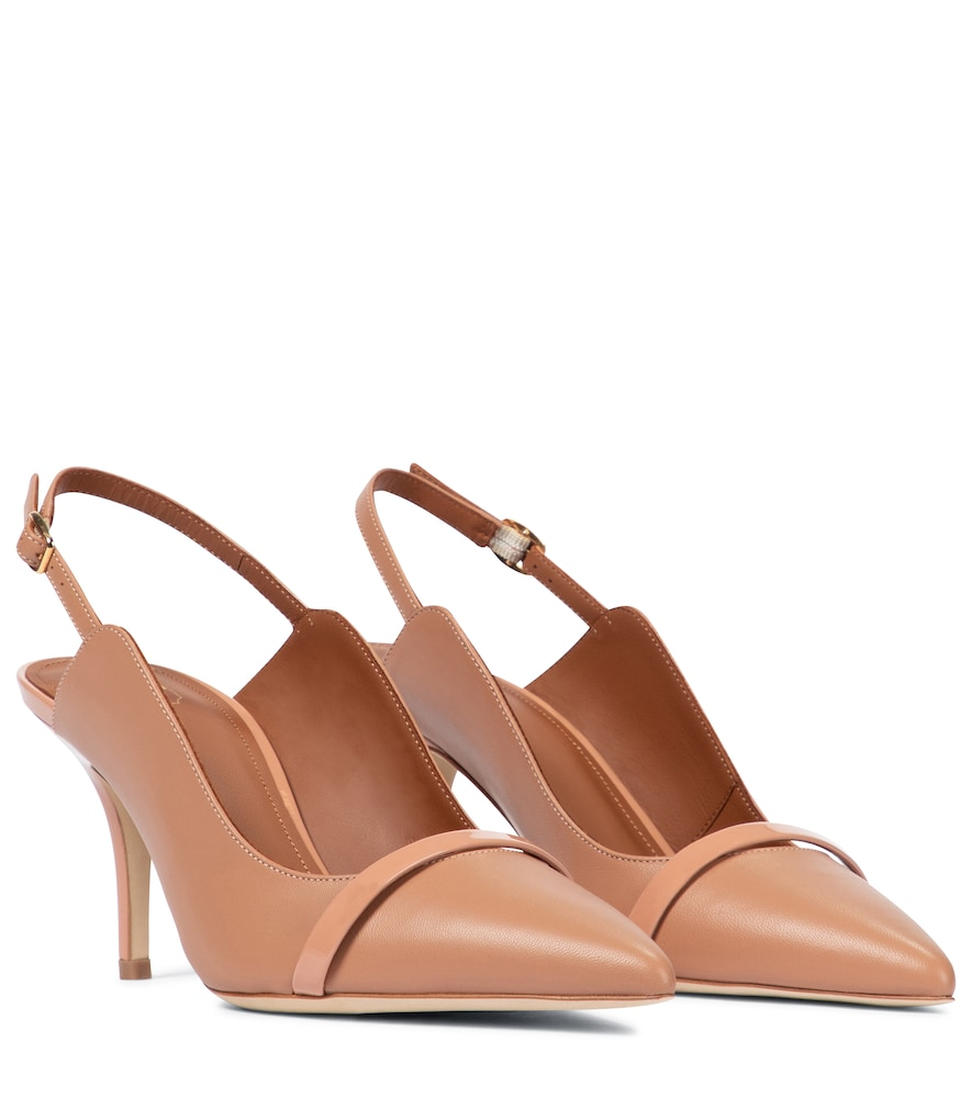 Malone Souliers Marion 70 Leather Slingback Pumps In Beige