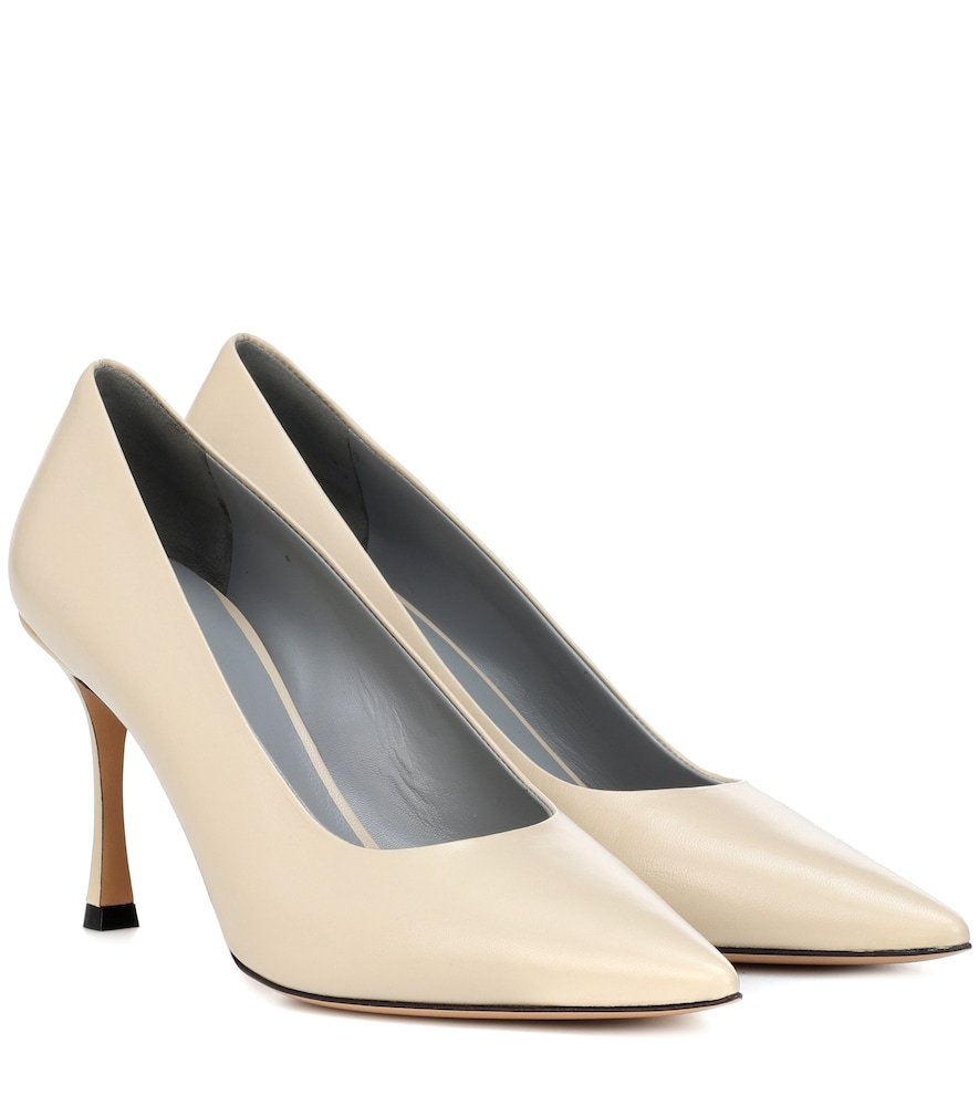 Champagne Leather Pumps in Cream