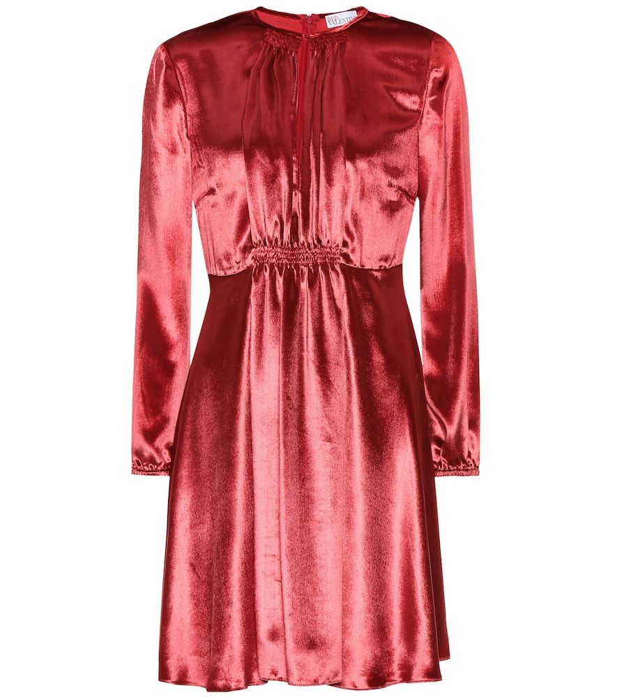 RED VALENTINO Silk-Blend Velvet Minidress in Red