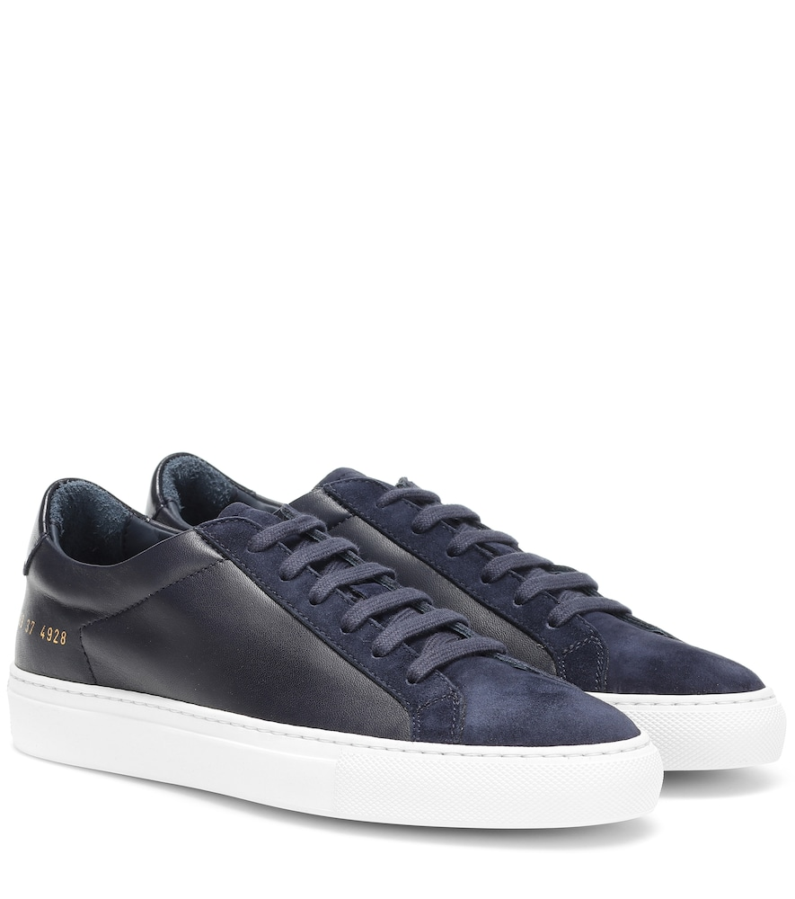 Common Projects Original Achilles Leather And Suede Sneakers In Blue