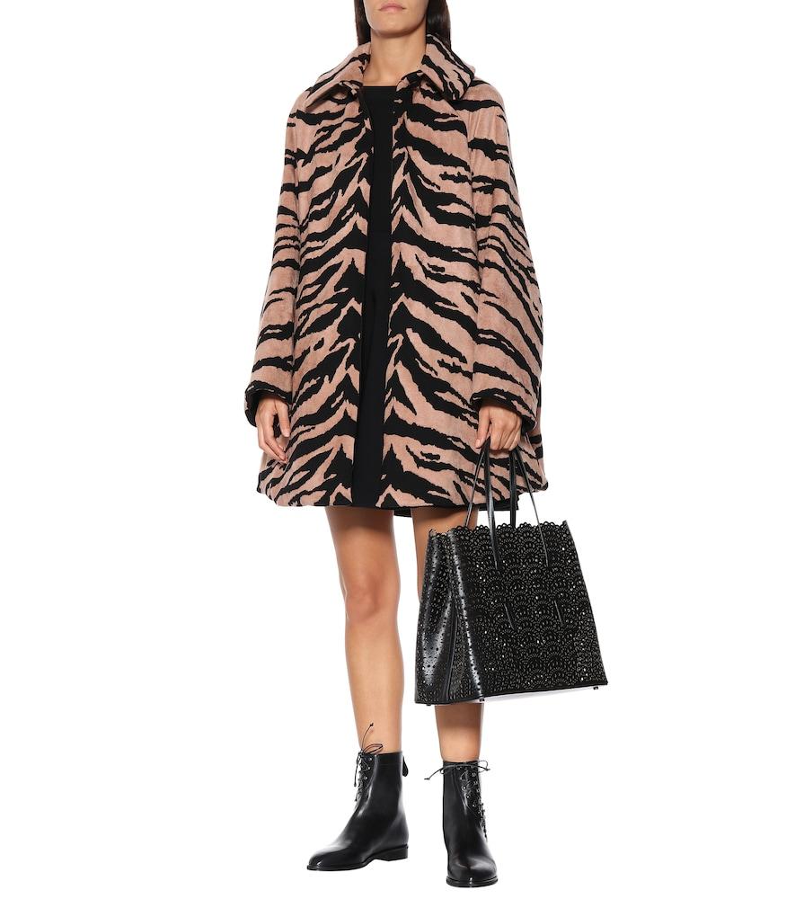 Zebra jacquard cocoon coat by Alaïa