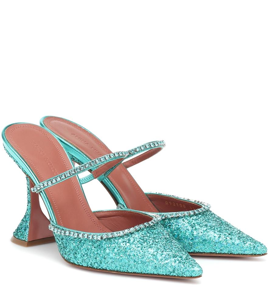 Amina Muaddi Gilda Crystal-embellished Glitter Mules In Green