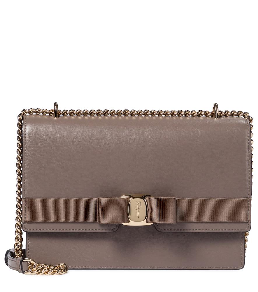 Salvatore Ferragamo Vara Leather Shoulder Bag In Brown