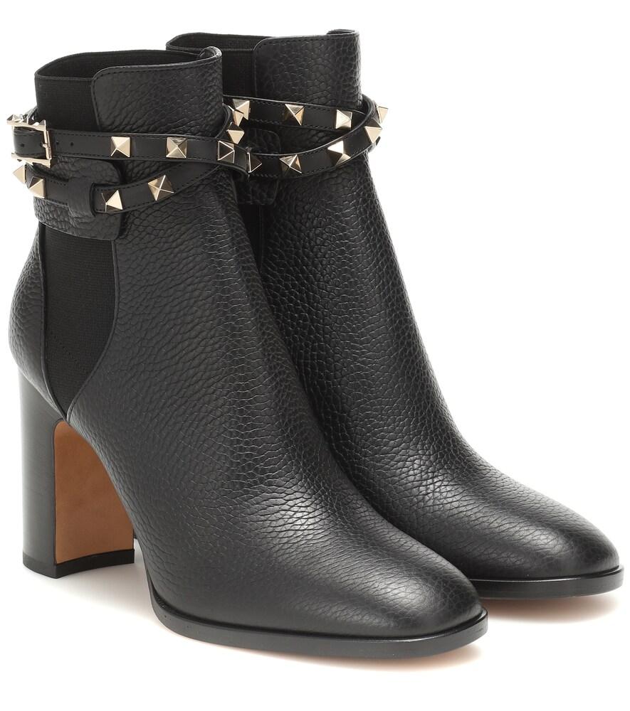VALENTINO | Valentino Garavani Rockstud Leather Ankle Boots | Goxip