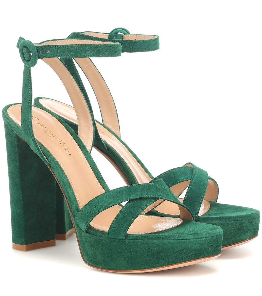 Gianvito Rossi Poppy 100 Suede Platform Sandals In Green