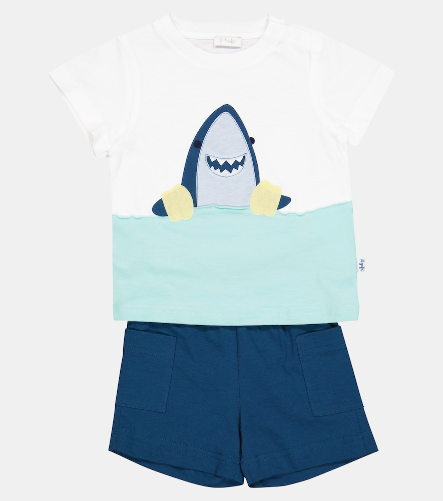 IL GUFO Cottons BABY COTTON JERSEY T-SHIRT AND SHORTS SET