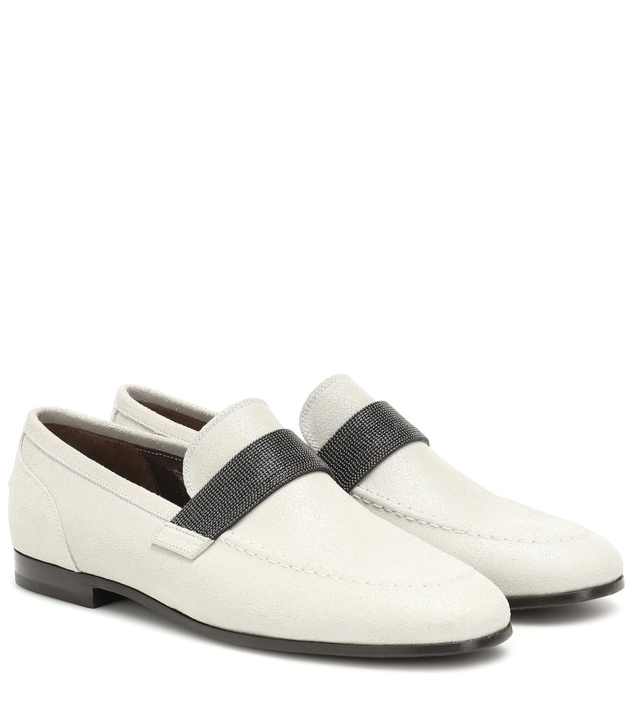 BRUNELLO CUCINELLI | Embellished Suede Loafers | Goxip