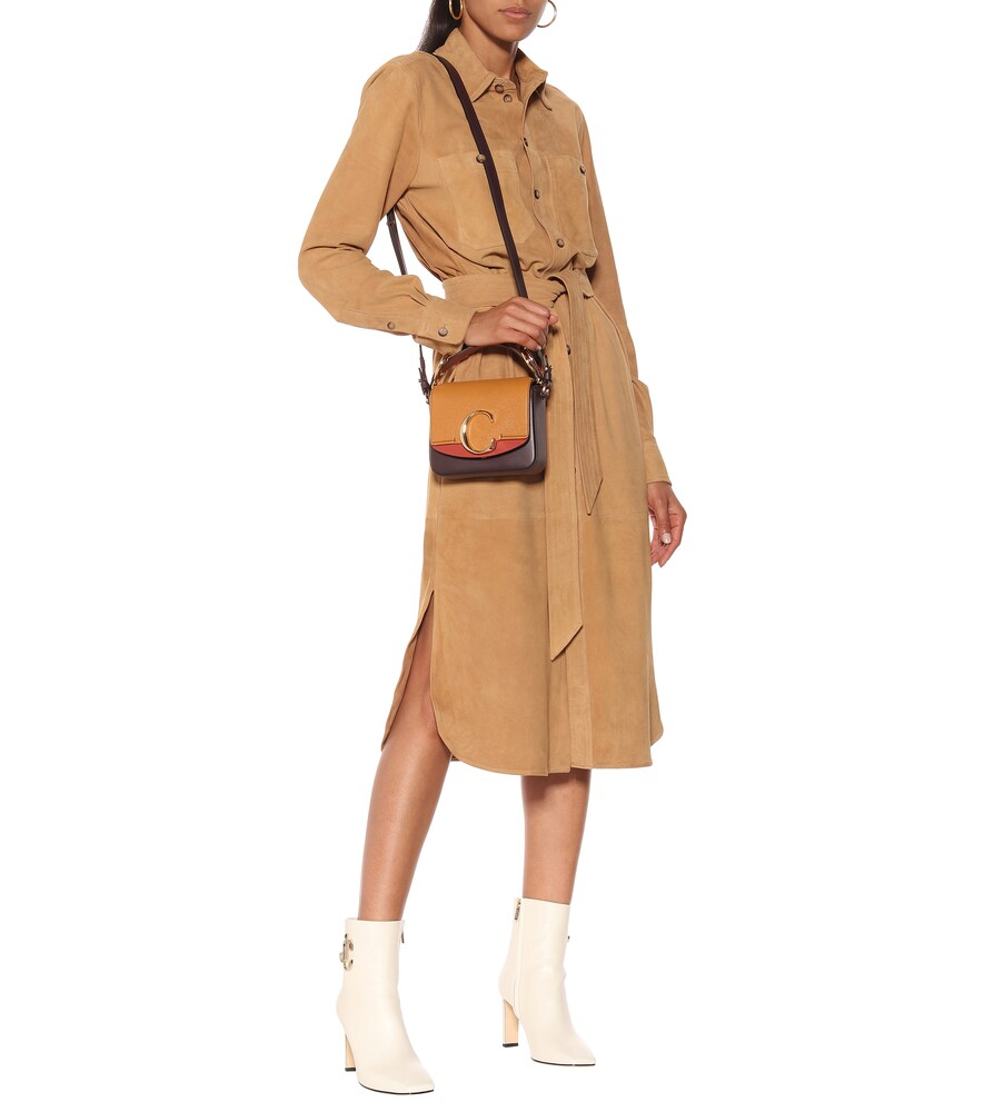 Suede midi shirt dress by Polo Ralph Lauren
