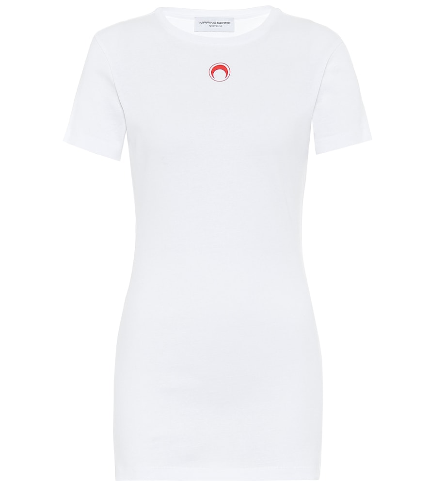 Marine Serre Logo Cotton-Jersey T-Shirt In White