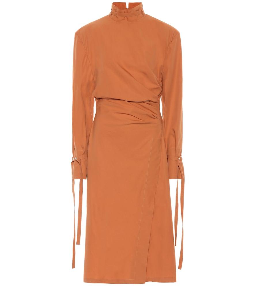 Acne Studios Cotton-Poplin Midi Dress In Orange